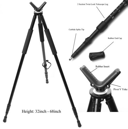 Hammers-Telescopic-Shooting-Tripod-w-Pivot-V-Yoke-Max-Height-68