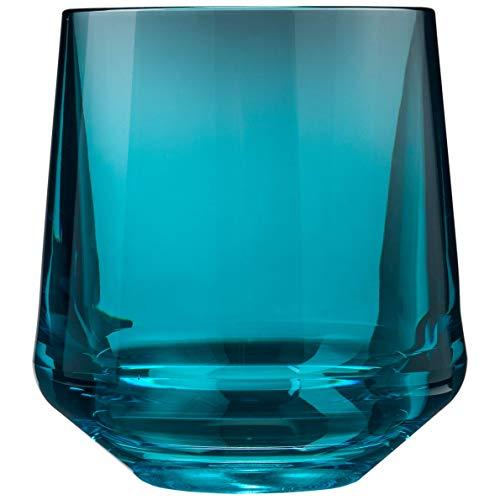Drinique VIN-SW-TEL-4 Stemless Unbreakable Tritan Wine Glasses, 12 oz (Set of 4), Teal ()