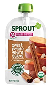 Sprout Organic Baby Food Pouches, Stage 2 Sprout Baby Food, Sweet Potato White Beans with Cinnamon, 4 Ounce (Pack of 5)