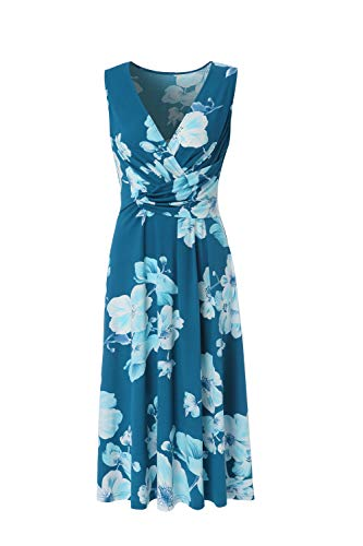 Womens Faux Wrap Floral Dress Cross Wrap Midi Tank Dresses for Women (Small, Green)