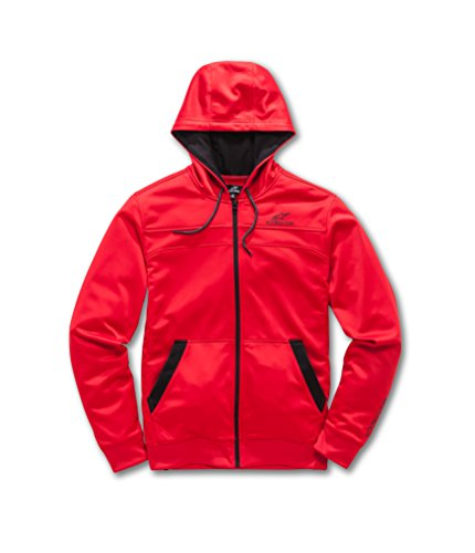 Alpinestars Men's Full Zip Hooded Sweatshirt Modern Fit 240 GSM Motorsports Poly Fleece, Freeride red, XL