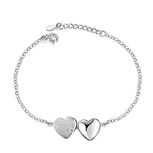 Corykeyes 925 Sterling Silver Double Heart Bracelet For Women Girls (Double Heart) by Cory Keyes