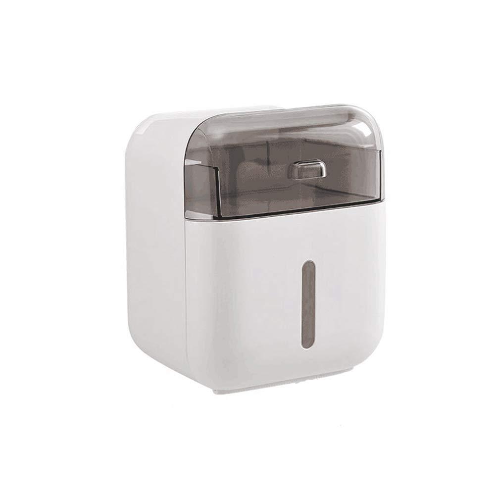 FU LIAN Toilet Paper Holder - Waterproof/dustproof Paper roll Holder and Dispenser - Wall-Mounted, Toilet Paper roll Holder, Storage Container,White by FU LIAN