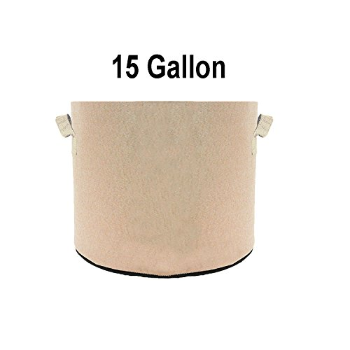 TopoGrow 12 Pack 15 Gallon Grow Bags Tan Fabric Round Aeration Pots Container for Nursery Garden and Planting Grow (15 Gallon, Tan) Review