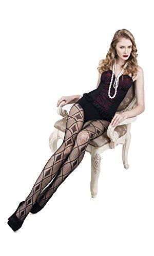 Diamond Patterned Tights - ICONOFLASH Women's Patterned Fishnet Stocking Tights (Regular, Diamond Pattern)