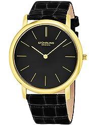 Stuhrling Original Mens 601.33351 Classic Ascot Swiss Quartz Ultra Thin Black Leather Strap Watch