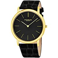 Stuhrling Original Men's Swiss Quartz Stainless Steel and Leather Dress Watch, Color:Black (Model: 601.33351)