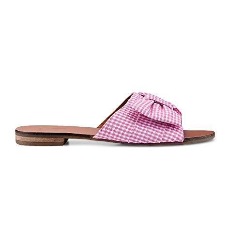 A Design Applikation in Schleifen Another Offene Pantolette mit Damen und Trend Rosa Braun Vichy weißen Damen Rosa Slipper RdxqdFwgO
