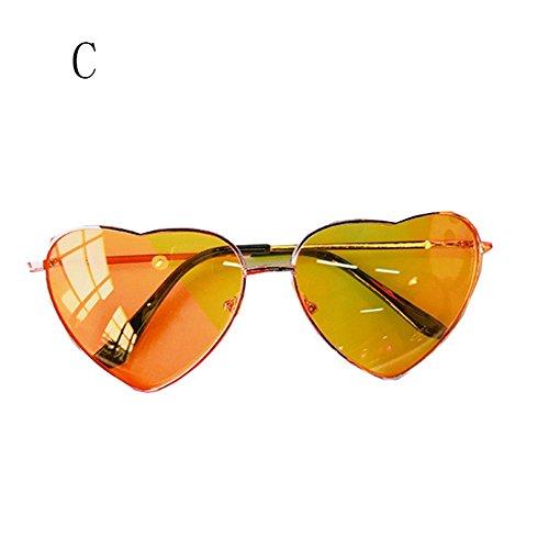 FZG air Plein Heart Retro des De Cool Sunglasses Couleur Lunettes C Soleil Soleil Personnalité Lunettes de Dégradé E De de Summer Peach BwrpUBTx