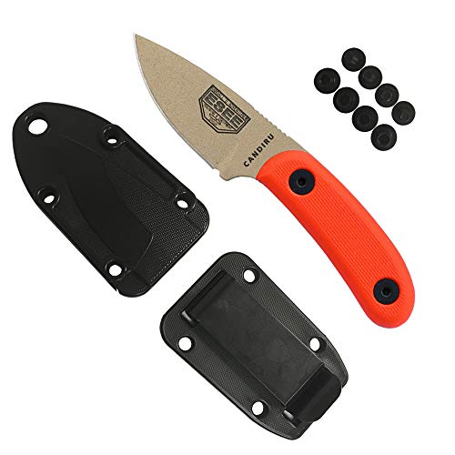 ESEE Knives Desert Tan CANDIRU Fixed Blade Knife with Orange G10 Handle and Molded Polymer Sheath (Blade Orange Handle)