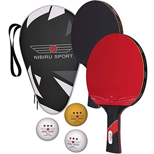 Nibiru Sport Ping Pong Paddles (Set of 2) - Table Tennis Racket Kit w/ 2 Rackets, 3 Balls & Portable Case - Professional Pingpong Paddle, Outdoor Or Indoor Play