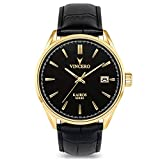 Vincero Luxury Men's Kairos Wrist Watch — Yellow Gold with Black Leather Watch Band — 42mm Analog Watch — Japanese Quartz Movement