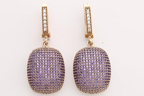(Fantastic Design! Turkish Handmade Jewelry Round Cut Amethyst Zircon Stone 925 Sterling Silver Drop/Dangle Earrings)