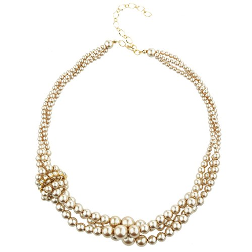 Prestep Unique 3 Twisted Strands knotted Glass Pearls Necklace (Champagne)