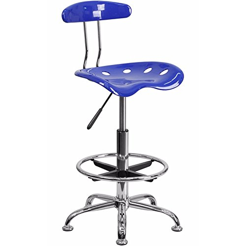Offex Contemporary Sleek Vibrant Nautical Blue and Chrome Drafting Stool with Tractor Seat