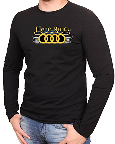Audi Herr Der Ringe Gelbe logo Fun Schwarze Langarmshirt -054-LA