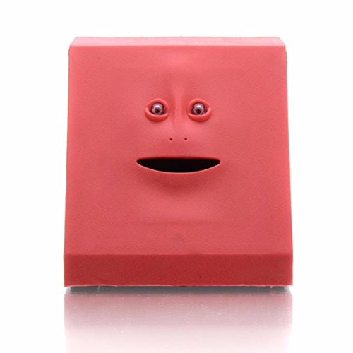 Just us 40 Coins Eatable Face bank Automatic Coin Eating Savings Face Coin bank Kids (Red) (Bank Novelty)