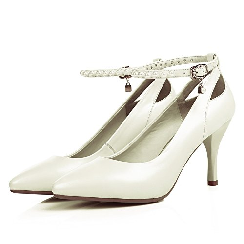 Non chiusura Alto Pompe Pattini 1to9 Tacco Penny Mms05522 Pleather Bianco Solido Donne Bordato mocassino wpIYqxX