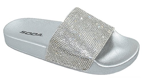 Pictures of Soda Shoes Women Flip Flops Sandals Bling Sylvia Silver 1