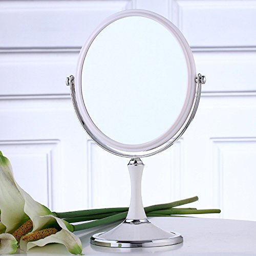 XPXKJ 8-inch TabletopSwivel Vanity Makeup Mirror with 3x Magnification, Two SidedABS Decorative Framed European StyleMakeupMirror for Bathroom Bedroom Dressing Table- Oval (Oval Vanity Bedroom)
