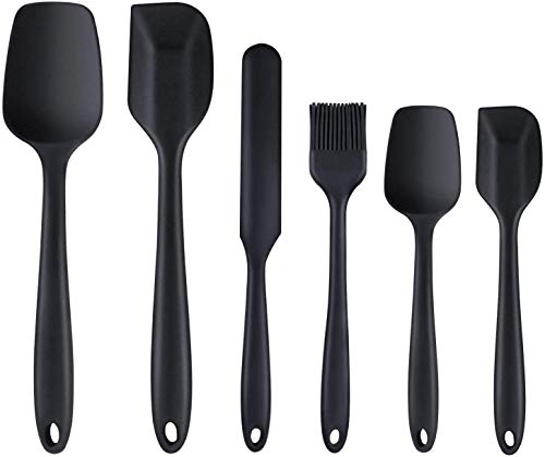 AUCD Silicone Spatula, 6 Piece Non-scratch Heat Resistant Rubber Spatula with Stainless Steel Core, Non Stick and Great Grips Spatulas for Cooking, Baking and Mixing