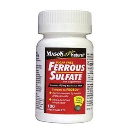Mason Natural Ferrous Sulfate Iron Supplement Green Tablets