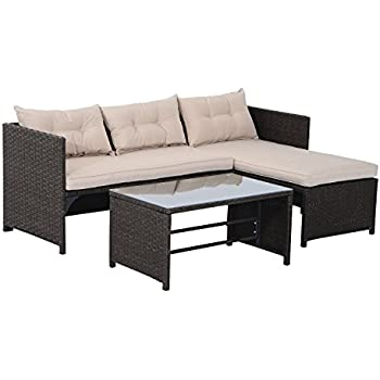 Outsunny 3 Piece Outdoor Rattan Wicker Sofa And Chaise Lounge Set   Brown  And Tan