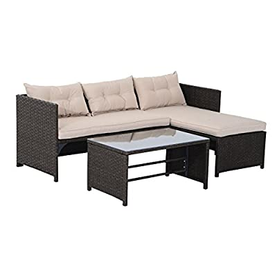 "Outsunny 3 Piece Outdoor Rattan Wicker Patio Sofa and Chaise Lounge Set - 3 piece rattan wicker set includes a sofa, chaise lounge and coffee table for stylish outdoor living Solid steel frame, UV-resistant fabric and 5mm transparent tempered glass for durability Ideal for patios, backyards, gardens, balconies, poolside and more. Sofa Dimensions: 25.2""W x 49.2""D x 25.2""H;Chaise Lounge Dimensions: 25.2""W x 49.2""D x 25.2""H - patio-furniture, patio, conversation-sets - 41mzfdoROKL. SS400  -"