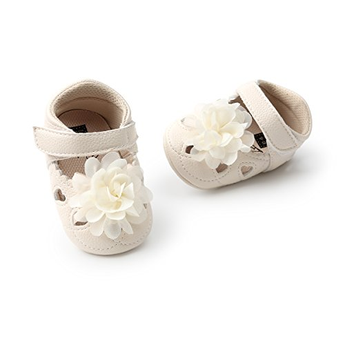 Meckior Infant Baby Girls Sandas Summer Soft Leather No-Slip Princess Shoes (0-6 Months, C-Beige-White)