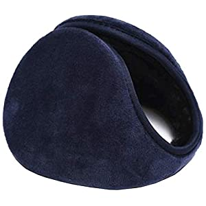 HIG Ear Warmers Unisex Foldable Leather Classic Fleece Winter Warm Earmuffs for Men & Women