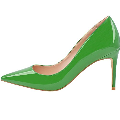 Lovirs Womens Basic Basic Slip On Pumps Stiletto Punta Tacco Medio A Punta Per Vestito Da Party In Vernice Verde