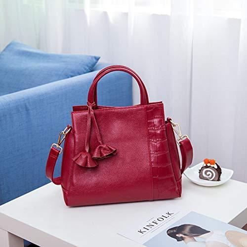 Morbida Per Gray A Vintage Kamiwwso Signore In Donna Red color Le Da Tracolla Borsa Pelle Grande vfUqf8Sw