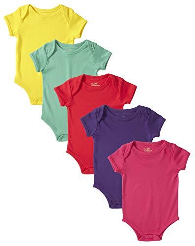 Cremson Unisex Baby Cotton 5 Pack Short Sleeve Bodysuits One-Piece Creeper - Multi Solid (Size 6/9M) ()