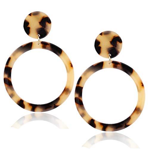 Lucite Earrings Pierced (XOCARTIGE Acrylic Dangle Earrings Resin Hoop Earrings Circle Round Stud Drop Earring for Women Girls (F Leopard 2))