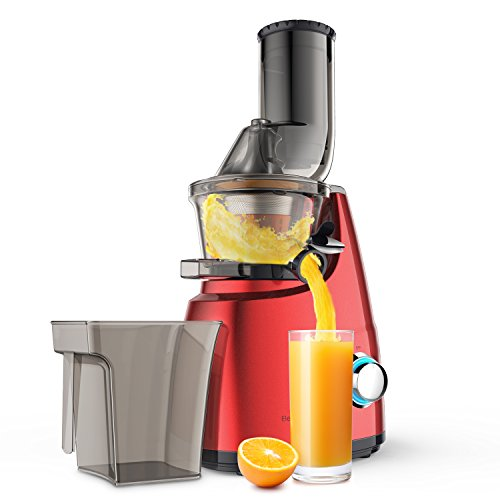 Elechomes CJ201 Slow Masticating Juicer Extractor with Wide Chute (200W AC Motor, 45 RPMs, 3'' Big Mouth) Anti-Oxidation Lower Noisy - Vertical Masticating Cold Press Juicer by Elechomes