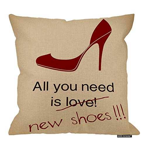 (HGOD DESIGNS High Heel Square Pillow Cushion Cover,Funny Women Love Poster All You Need is New Shoes Cotton Linen Cushion Covers Home Decorative Throw Pillowcases 18x18inch)