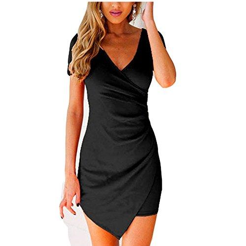 IHRKleid Elegant Damen Kleid V-Ausschnitt Abendkleid Schlank Bodycon Schwarz