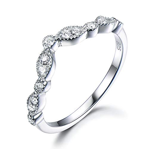 (Curved CZ Diamond Wedding Band Solid 14k White Gold Chevron Engagement Ring Stacking Matching Jewelry )