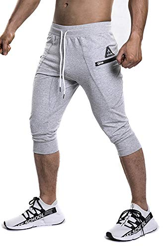 Shakestron Mens 3/4 Joggers Slim Fit Shorts Tapered Sweatpants for Gym Running Athletic Gray - Form Fitted Capris