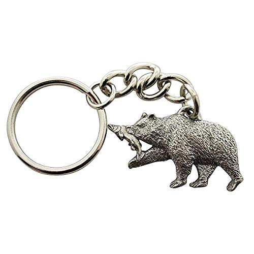 Sarah's Treats & Treasures Brown Bear and Salmon Keychain ~ Antiqued Pewter ~ Keychain