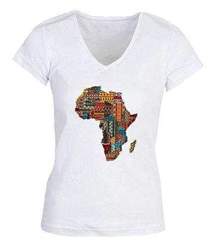 Africa Map Characters Damen V-neck T-shirt