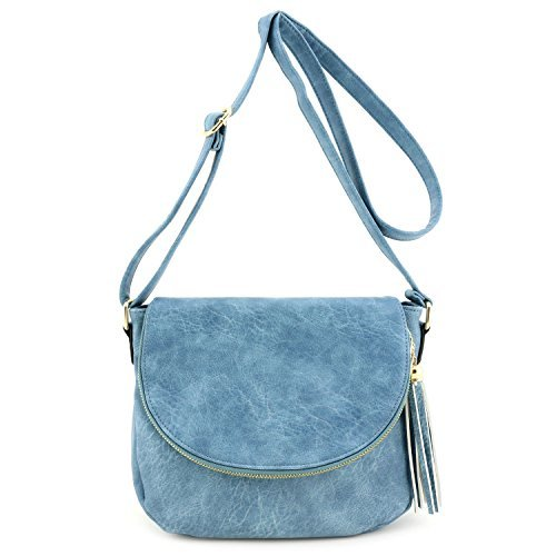 Tassel Accent Crossbody Bag with Flap Top Blue Gray