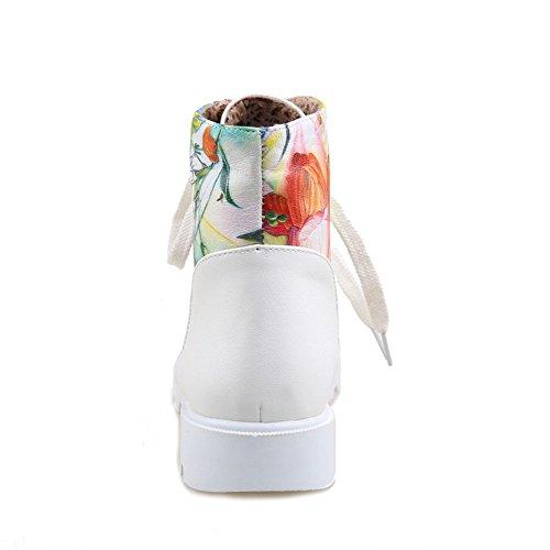 Girls White Printing Imitated Heel Color BalaMasa Bottom Leather Thick Boots Matching BqdwqvZ