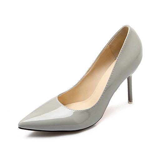 Aalardom Femmes Pointes-talons Aiguilles Bout Pointu Chaussures-chaussures En Tissu Gris-microfibre