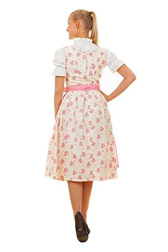 Mini vestido de tirolesa, 3piezas, diseño de flores, color crema, rosa, con blusa y delantal a juego, talla 32-50 rosa