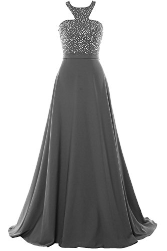Evening Party Formal MACloth Grau Prom Gown Chiffon Beading 2018 Long Halter Dress qUxU4XZz