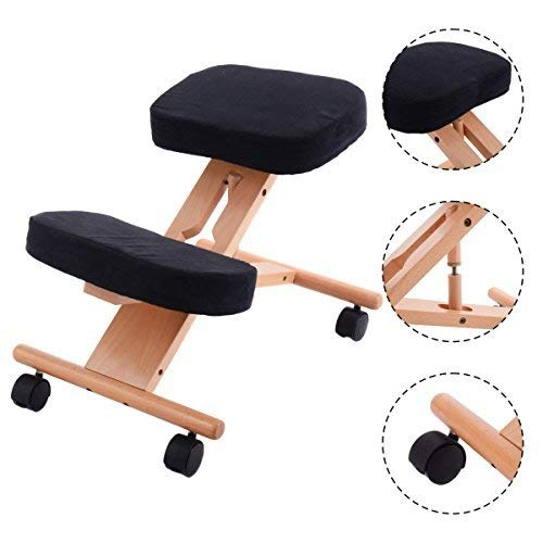 COSTWAY Ergonomic Kneeling Chair, Posture Stool with Angle & Height Adjustable, Premium Wood, Thick Padded Seat, Suitable for Meditation Gaming Computer Work, Promote Good Posture