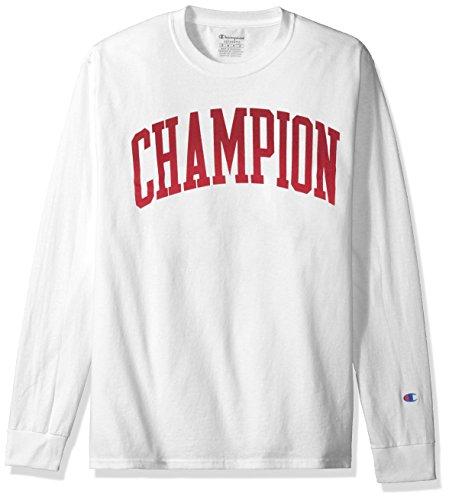 81e2f50b Galleon - Champion Men's Classic Jersey Long Sleeve Graphic T-Shirt, Tall  Arch V2/White, Medium