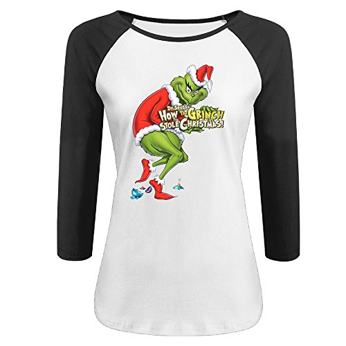 Women's Dr. Seuss 100% Cotton 3/4 Sleeve Athletic Raglan Sleeves T-Shirt Black US Size M