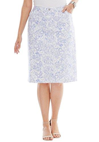 's Plus Size True Fit Denim Short Skirt Blue Mist Floral ()